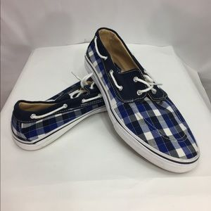 US Sports Men's Boat Shoes Blue Checkerboard